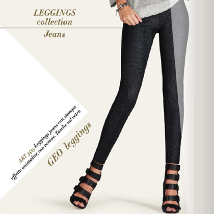 art. 3425 LEGGINGS GEO in tessuto stampa animalier の画像