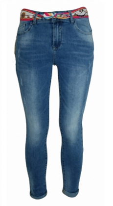 圖片 Jeans Stretch Slim Fit effetto usurato GHIACCIO E LIMONE art. F320