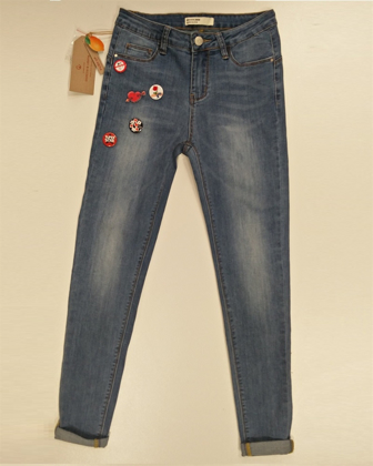Jeans Stretch Slim Fit con Spille applicate GHIACCIO E LIMONE art. F5134 の画像