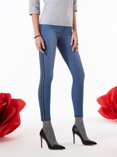 Immagine di Omsa art. 3647OM Jeans / Legging ZIPPER OMSA PE 2019 COLORE JEANS CHIARO