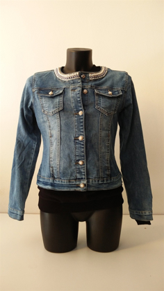 Giacchetto Jeans moda con Perle e Strass art. V05 の画像